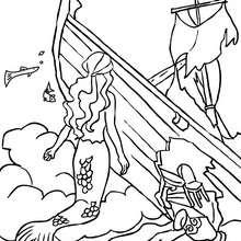 Desenho de sereias explorando um barco afundado para colorir