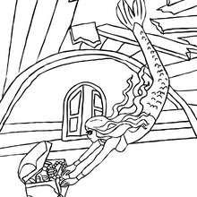 Desenho de uma sereia achando um tesouro para colorir