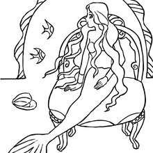 Desenho de uma sereia no seu castelo para colorir