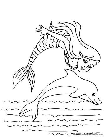 Desenho de uma sereia com um golfinho para colorir