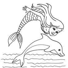 Desenhos Para Colorir De Desenho De Uma Sereia Com Um Golfinho