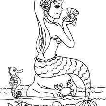 Desenho de uma sereia com seus amigos para colorir