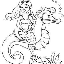 Desenho de uma sereia sobre um cavalo marinho para colorir