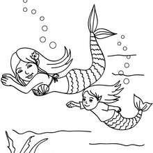 Sereias nadando para colorir