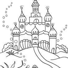 Desenho do reino submarino das sereias para colorir