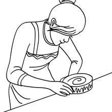 Desenho de uma mãe fazendo um bolo de aniversário para colorir