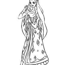 Desenhode uma Princesa marroquina dançando para colorir