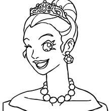 Desenho de uma Princesa fazendo uma piscadela para colorir