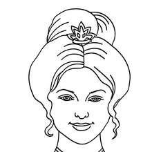 Desenho de uma Princesa com um coque para colorir