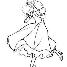 Desenho de uma Princesa dançando para colorir