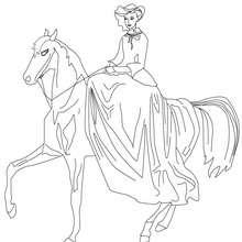 Desenho de uma Princesa andando a cavalo para colorir