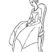 Desenho de uma Princesa sentada para colorir