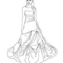 Desenho de uma Princesa com uma coroa para colorir