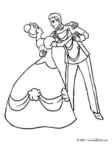 Desenho de um príncipe com uma princesa para colorir