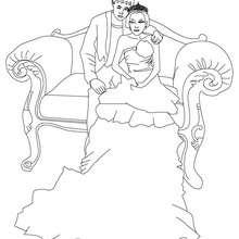 Desenho de uma princesa com um príncipe para colorir online