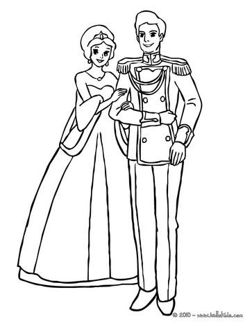 Desenho De Um Casal Principesco Para Colorir