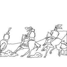 Desenho para colorir de uma corrida cavaleiros