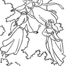 Desenho de um grupo de fadas voando para colorir