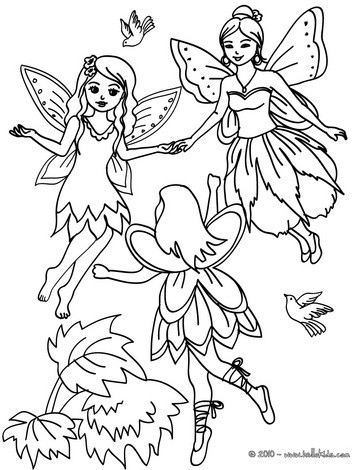 Desenhos Para Colorir De Desenho De Fadas Voando Na Floresta Para