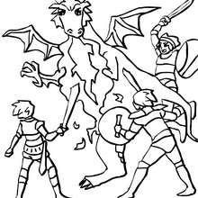Desenho para colorir de um Dragão contra os cavaleiros