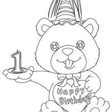 Desenho de uma vela de aniversário de 1 ano para colorir