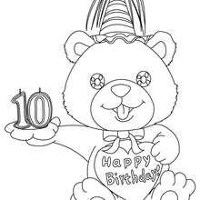 Desenho de uma vela de aniversário de 10 anos para colorir