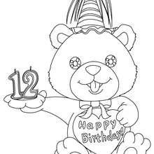 Desenho de uma vela de aniversário de 12 anos para colorir