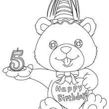 Desenho de uma vela de aniversário de 5 anos para colorir