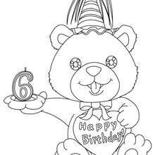 Desenho de uma vela de aniversário de 6 anos para colorir