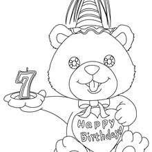 Desenho de uma vela de aniversário de 7 anos para colorir