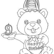 Desenho de uma vela de aniversário de 9 anos para colorir