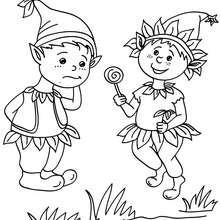 Desenho de Elfos se divertindo  para colorir