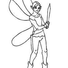 Desenho para colorir de um elfo guerreiro com uma espada