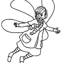 Desenho de um Elfo de asas no inverno para colorir