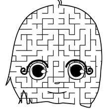 Labirinto divertido para imprimir : ROSTO DE UMA MENINA