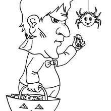 Desenho de uma criança fantasiada em Frankenstein para colorir online