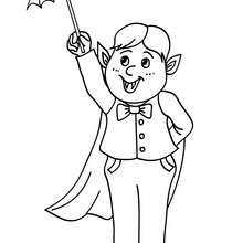 Desenho de uma criança fantasiada  de Drácula para colorir online online