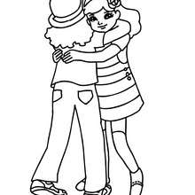 Desenho de duas meninas se abraçando para colorir
