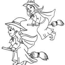 Desenho de uma corrida de bruxas em suas vassouras para colorir