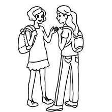 Desenho de para colorir de meninas conversando no jardim da escola
