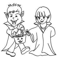 Desenho de crianças fantasiadas de vampiro para colorir