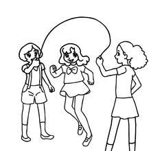 Desenho de para colorir de meninas pulando corda no pátio da escola