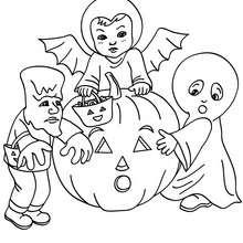 Desenho para colorir de fantasias para o Dia das Bruxas