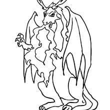Desenho de um Dragão perigoso cuspindo fogo para colorir