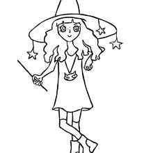 Desenho de uma bruxa divertida para colorir