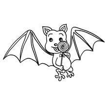 Desenhos Para Colorir De Desenho De Um Morcego Com Um Pirulito