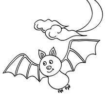 Desenho de um morcego voando no luar para colorir