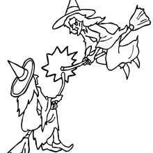 Desenho de uma batalha de Bruxas para colorir