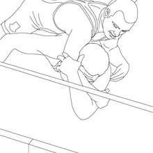 Desenho de lutadores no ringue para colorir online