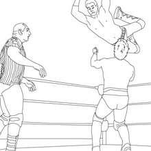 Desenho de uma luta no ringue com um árbitro para colorir